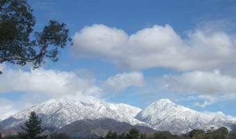 Snowy mountains near Claremont CA